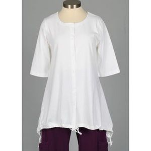 Bryn Walker Tunic White Linen Kay Ruched top